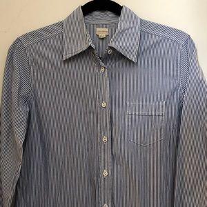 Nili Lotan Blue/White Striped Button Down